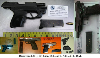 6 firearms discovered at TSA checkpoints this week.