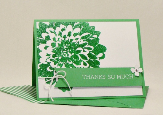 Easy wow card: Cucumber Crush embossed Definitely Dahlia thank you card.