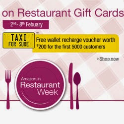 Amazon: Restaurant Gift Cards upto 30% off + Rs. 200 Taxi For Sure Wallet Recharge voucher