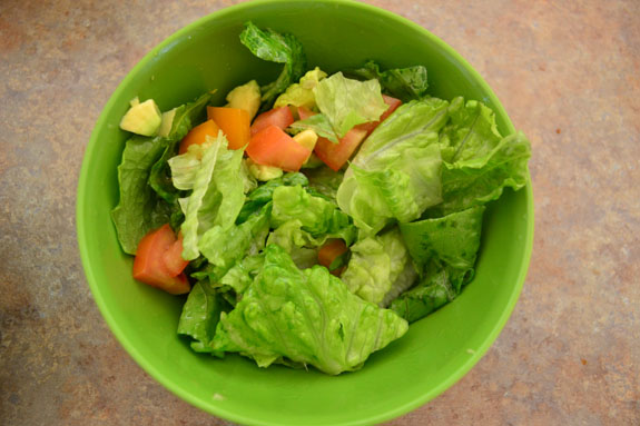and one with lettuce, tomatoes, bell peppers, and avocado on ...