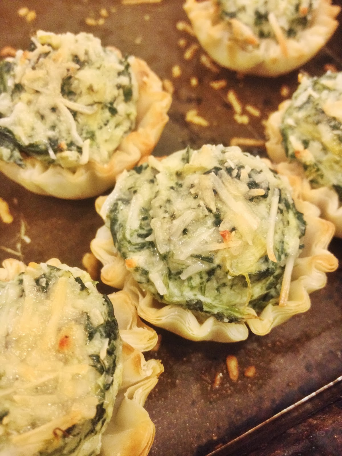 Challenger sweets spinach artichoke canap s for How to make canape shells at home