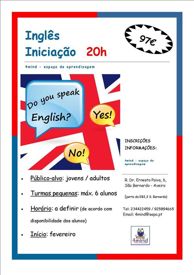 Curso de iniciação ao Inglês em Aveiro (para jovens e adultos)