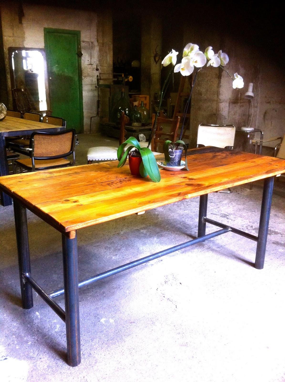 EncantsVintage: Mesa comedor madera reciclada-hierro