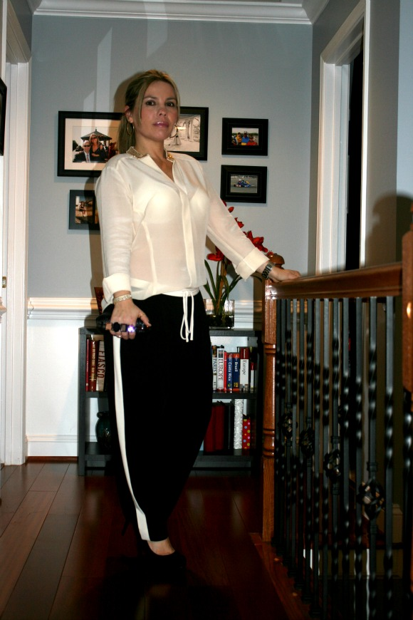 Tuxedo Stripe Crepe Lounge Pants from Bebe, Embellished Collar Button Up Blouse from Bebe, Jewel and Metal Closure Clutch from South Moon Under, Black Suede Paulie Platform Pumps from BCBGeneration