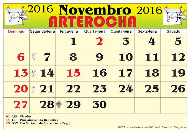mês de Noveembro 2016, com as fases da lua e feriados nacional. 2016 ...