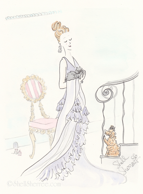 Fashion and fluffballs illustration : Violet Ruffles at the Curlicued Staircase © Shell-Sherree