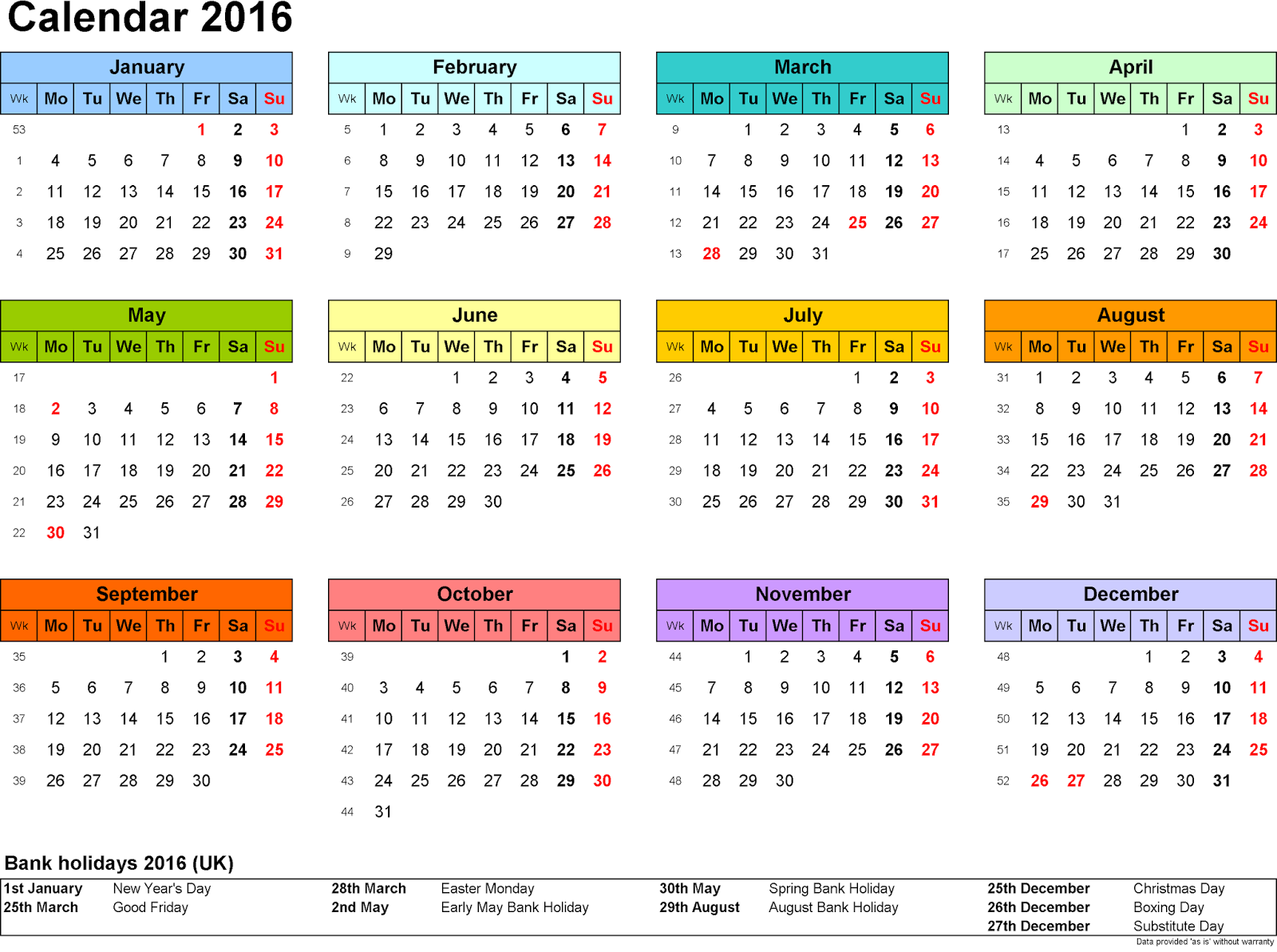 Calendar Holidays : Calendar with federal bank holidays