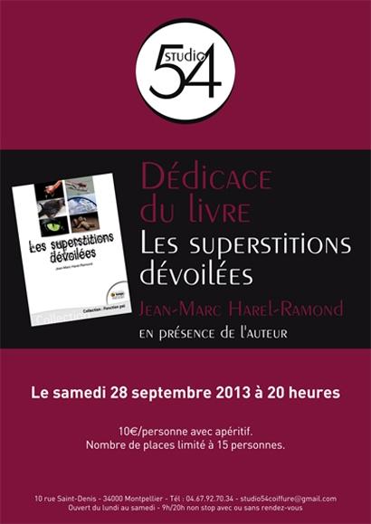 Affiche de la soirée de présentation et dédicace du nouvel ouvrage de Jean-Marc Harel-Ramond, intitulé Les Superstitions Dévoilées.
