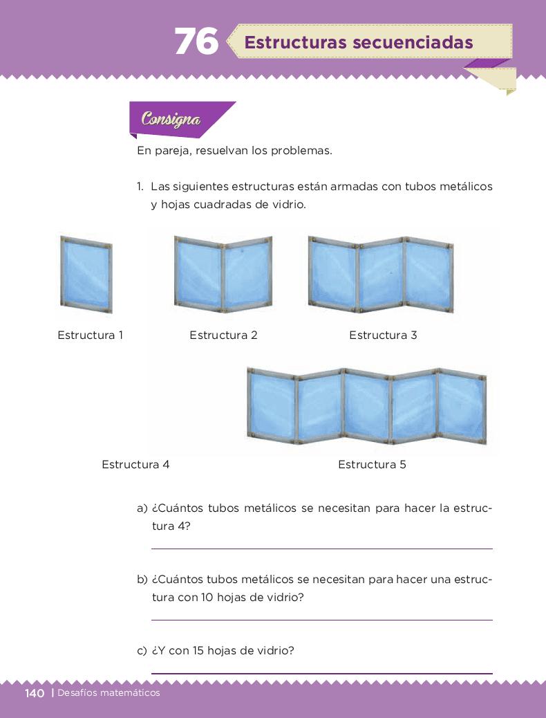 Estructuras secuenciadas - Desafíos matemáticos 6to Bloque 5to 2014-2015