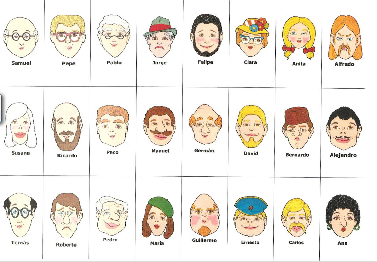 Guess Who Game Faces on feeling worksheets pdf
