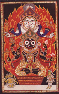 Images from Puri, of Vishnu as Krishna-Jagannatha (middle) with his elder brother Balabhadra (top) and younger sister Subhadra (bottom); Patta Paintings