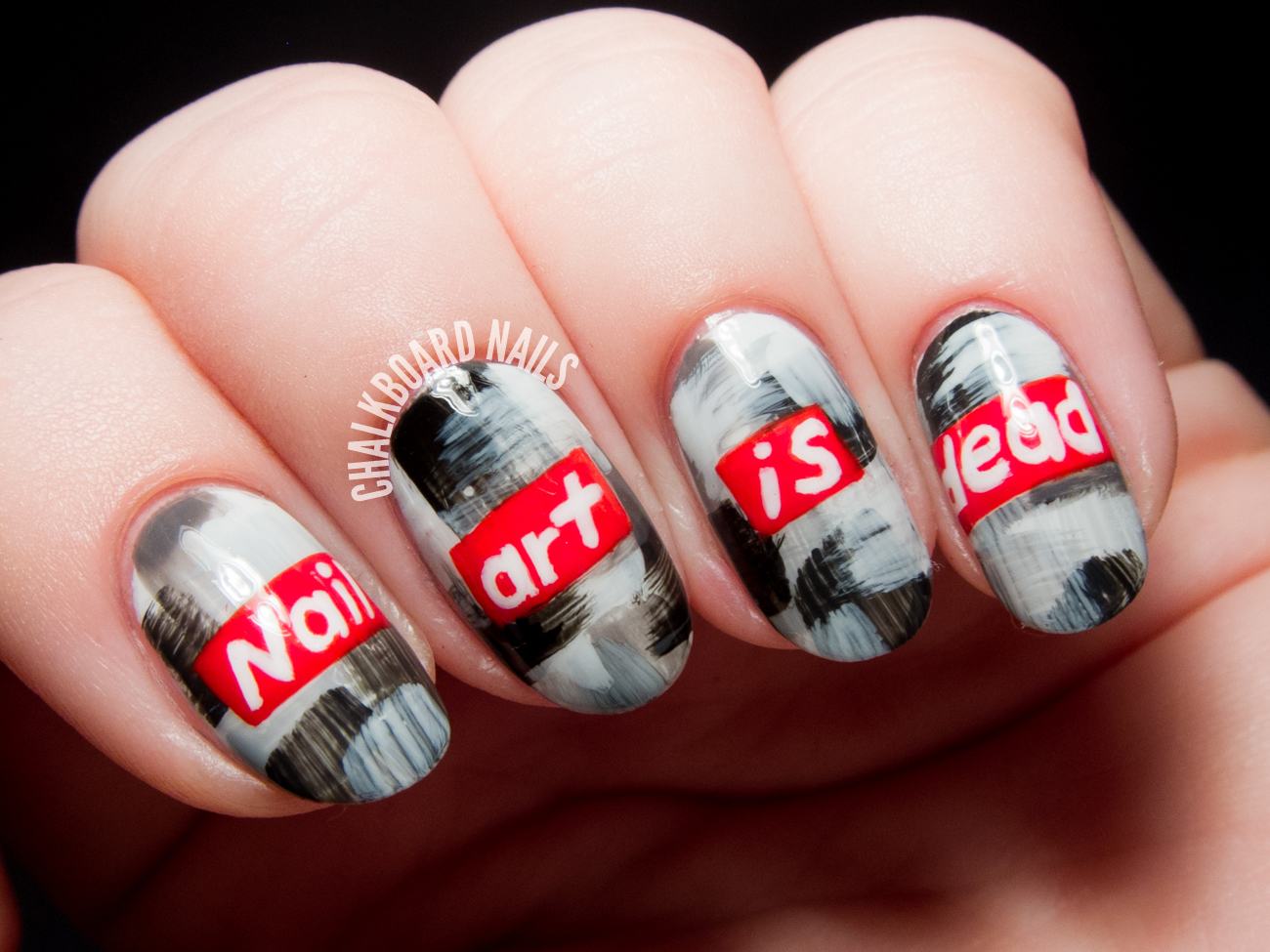 Nail art is dead barbara kruger inspired nail art chalkboard barbara kruger inspired nail art by chalkboardnails prinsesfo Gallery