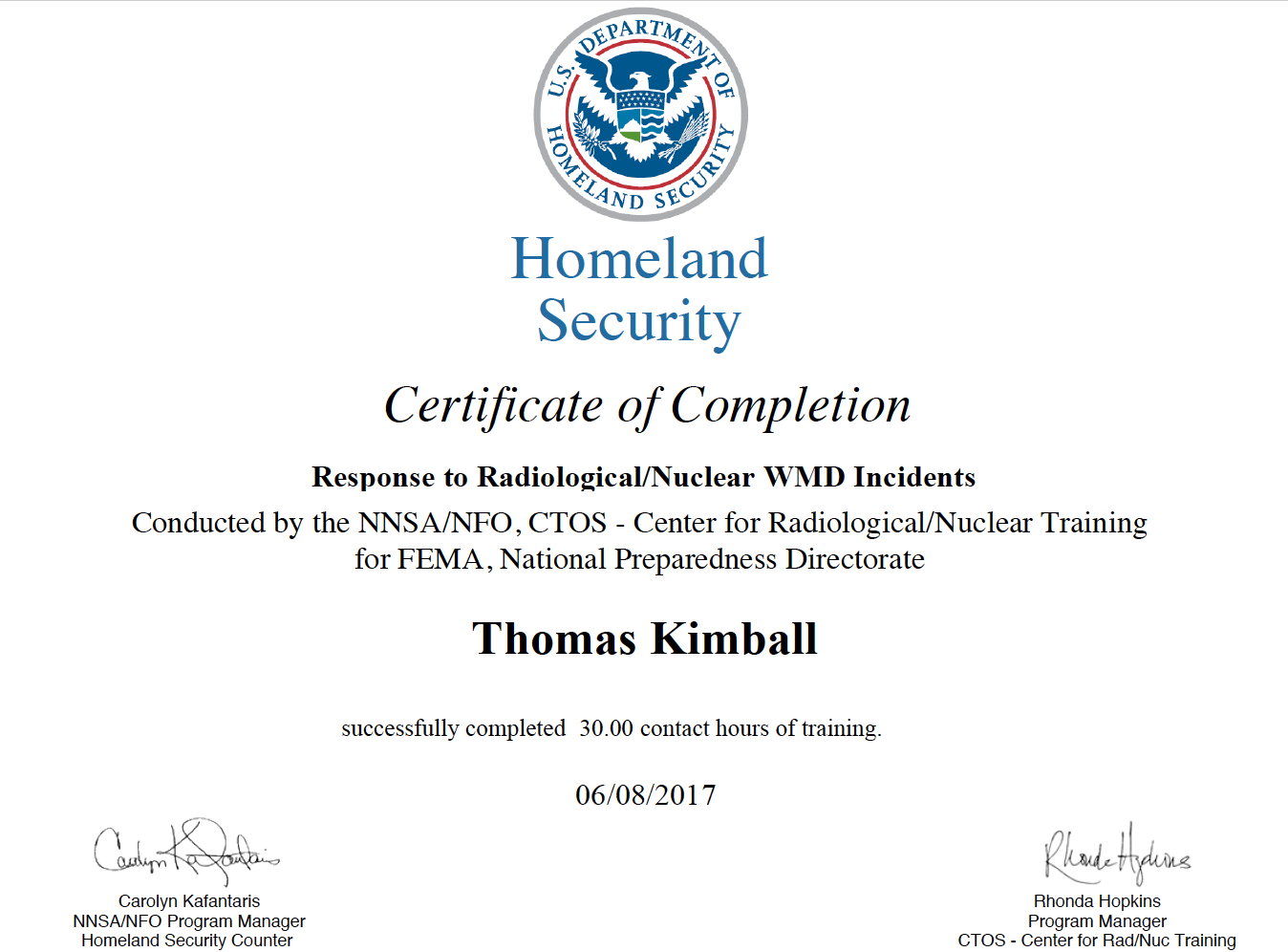PER-354 Response to Radiological/Nuclear WMD Incidents Course