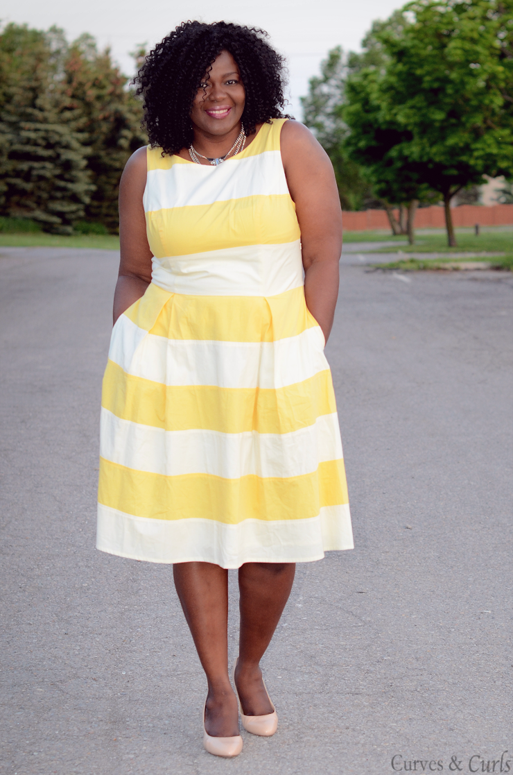 #Eshakti plus size yellow and white stripes dress. #plussize #fashion #curves #psblogger #ootd