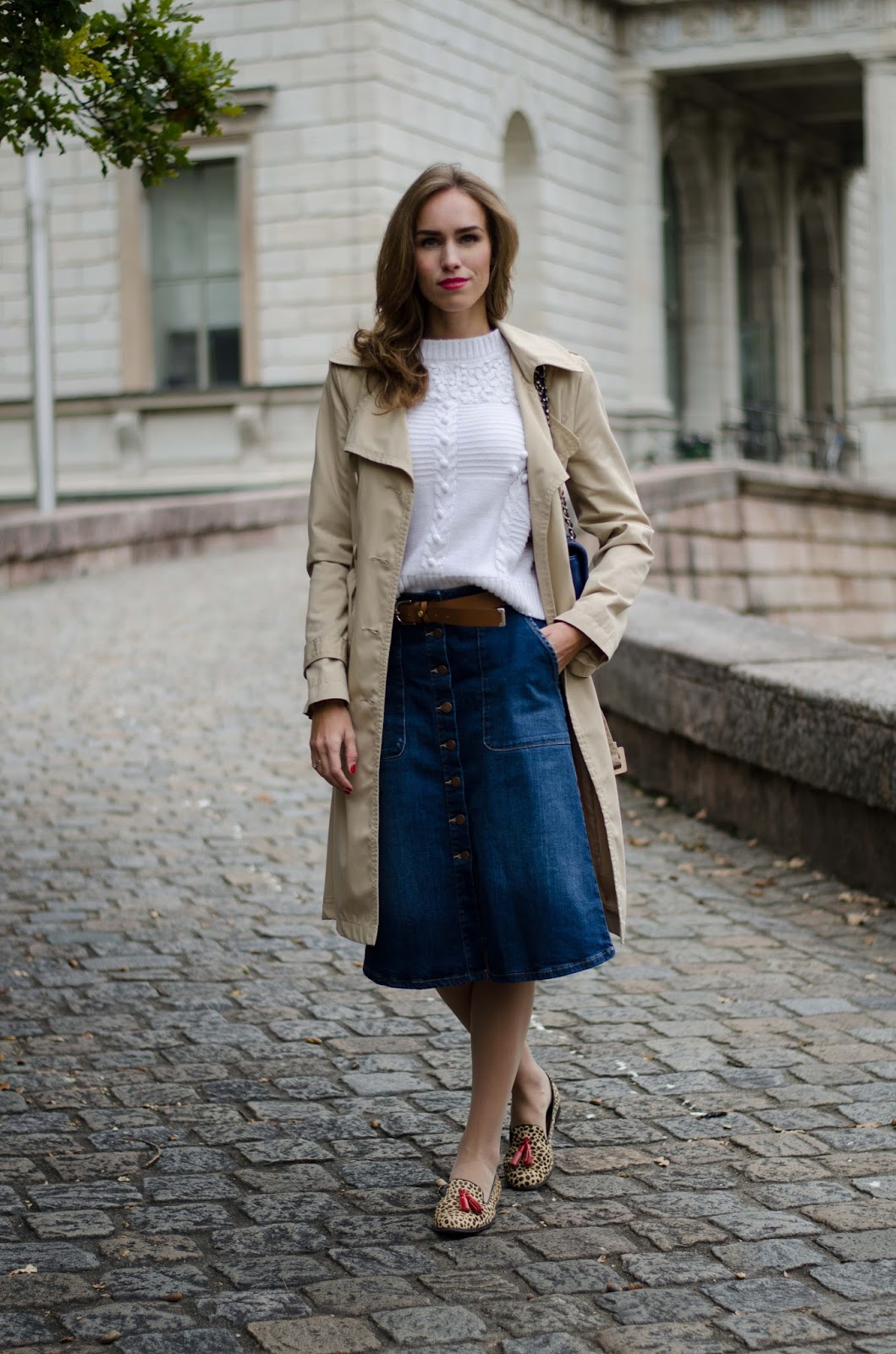 kristjaana mere beige trench white sweater blue denim lindex skirt brown belt outfit