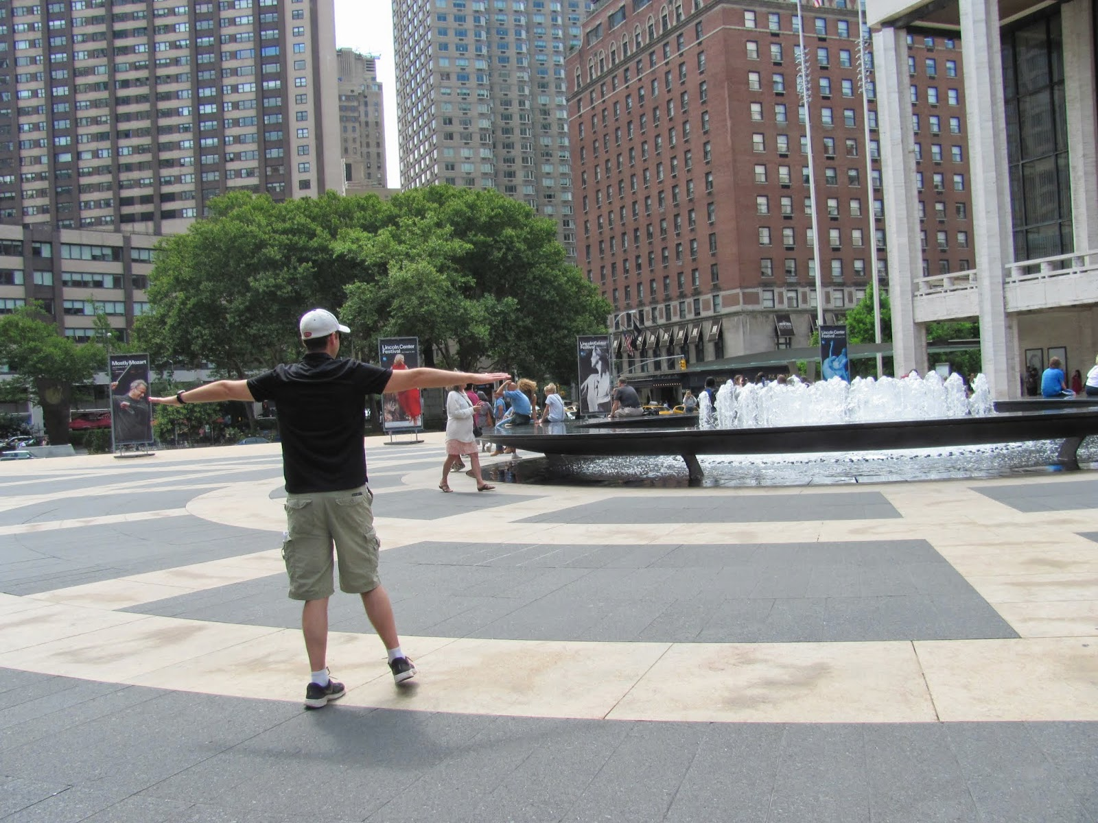 Cory twirling in Lincoln Center Plaza