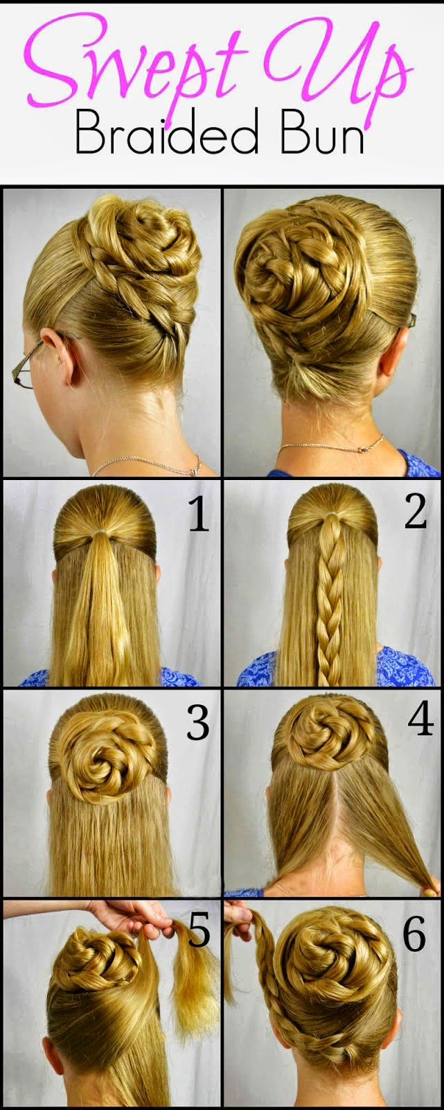How to bun hairstyles step by step - Swept Up Rose Braid Bun Hairstyle Step By Step
