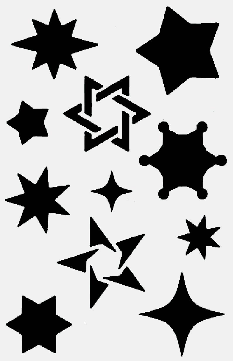 Stencil de estrellas sj aerografias plantillas estrellas - Plantilla estrella navidad ...