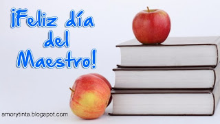 feliz dia del maestro con libros y manzanas