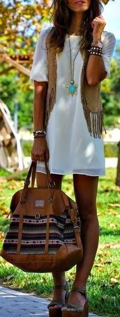 Sexy Bohemian white mini dress