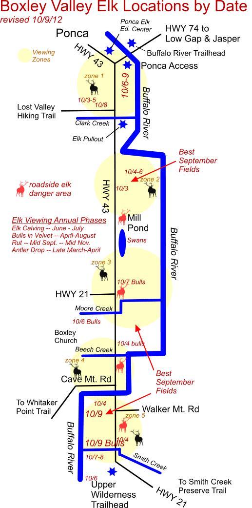 10/9/12 Elk Herd Location Map, Ponca, AR