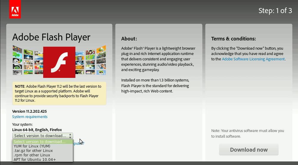 Update Adobe Flash Player Kali Linux