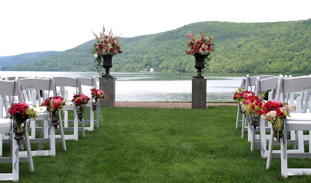 Otesaga Resort Wedding Pew Buckets - Splendid Stems Floral Designs
