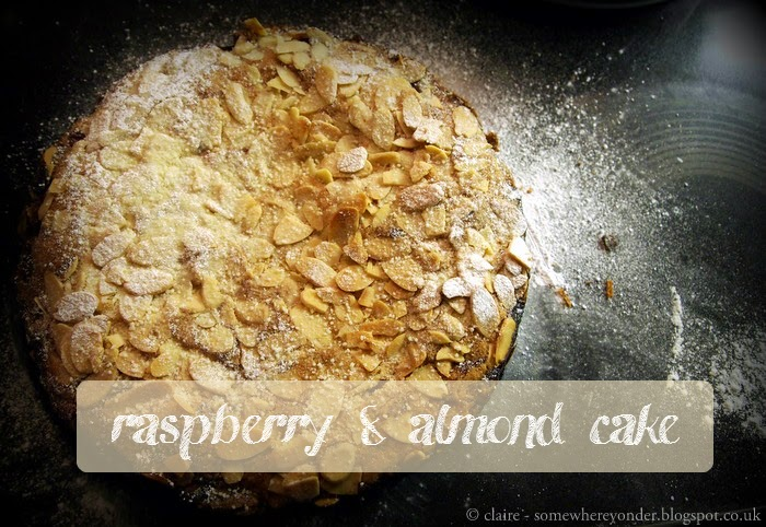 Homemade raspberry and almond cake, aka Bakewell Tart