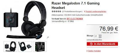7.1 Gaming-Headset Razer Megalodon bei meinpaket für 69,99 Euro