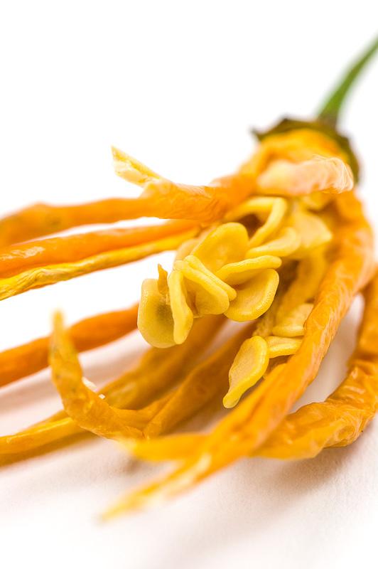Dry Aji-cito chili seeds close up