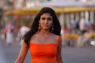 Nayantara in Orange Sleeveless Top Spicy Gown Stunning Pictures