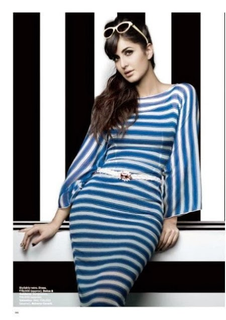 katrina-kaif-looking-sexy-in-sexy-blue-and-white-strip-dress