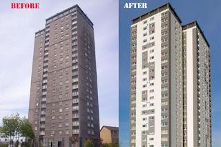 external insulation on a block of flats