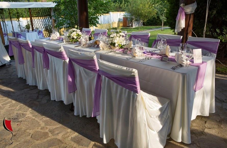сватбена украса за масата за гостите за градинско парти