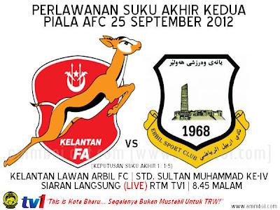 Keputusan Kelantan Vs Arbil Fc 25 September 2012 Piala Afc