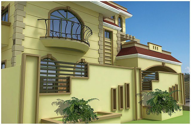 ... kanal, 10 Marla Plan, 3d Front elevation of House Beautiful design