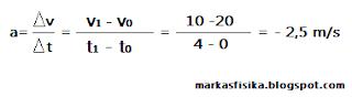 Kali ini markas fisika akan membagikan pembahasan soal tentang gerak untuk SMA, ada pun pembahasan soal nya seperti berikut, semoga bermanfaat..a = delta v/ delta t = v1 - v0 / t1 - t0 = 10 - 20 / 4 - 0 = - 2,5 m/s