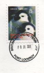 stamp showing Emperor penguin chicks postmarked Port Lockroy