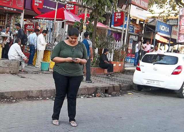obese girl on street
