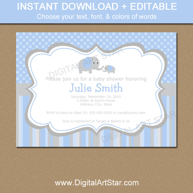 Printable Boy Baby Shower Elephant Invitation with Editable Text