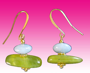 Green Jade and Blue Aquamarine Gemstone Dangle Earrings Chic and ModernFrom molgallery