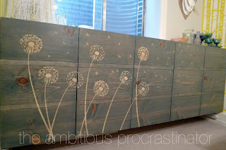 Ambitiouc Procrastinator uses a stencil and wood glue to create a beautiful design with wood stain