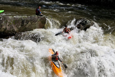 Jacob Kowalewski, Brad McMillan, and Chris Baer routing through Bear Creek Falls