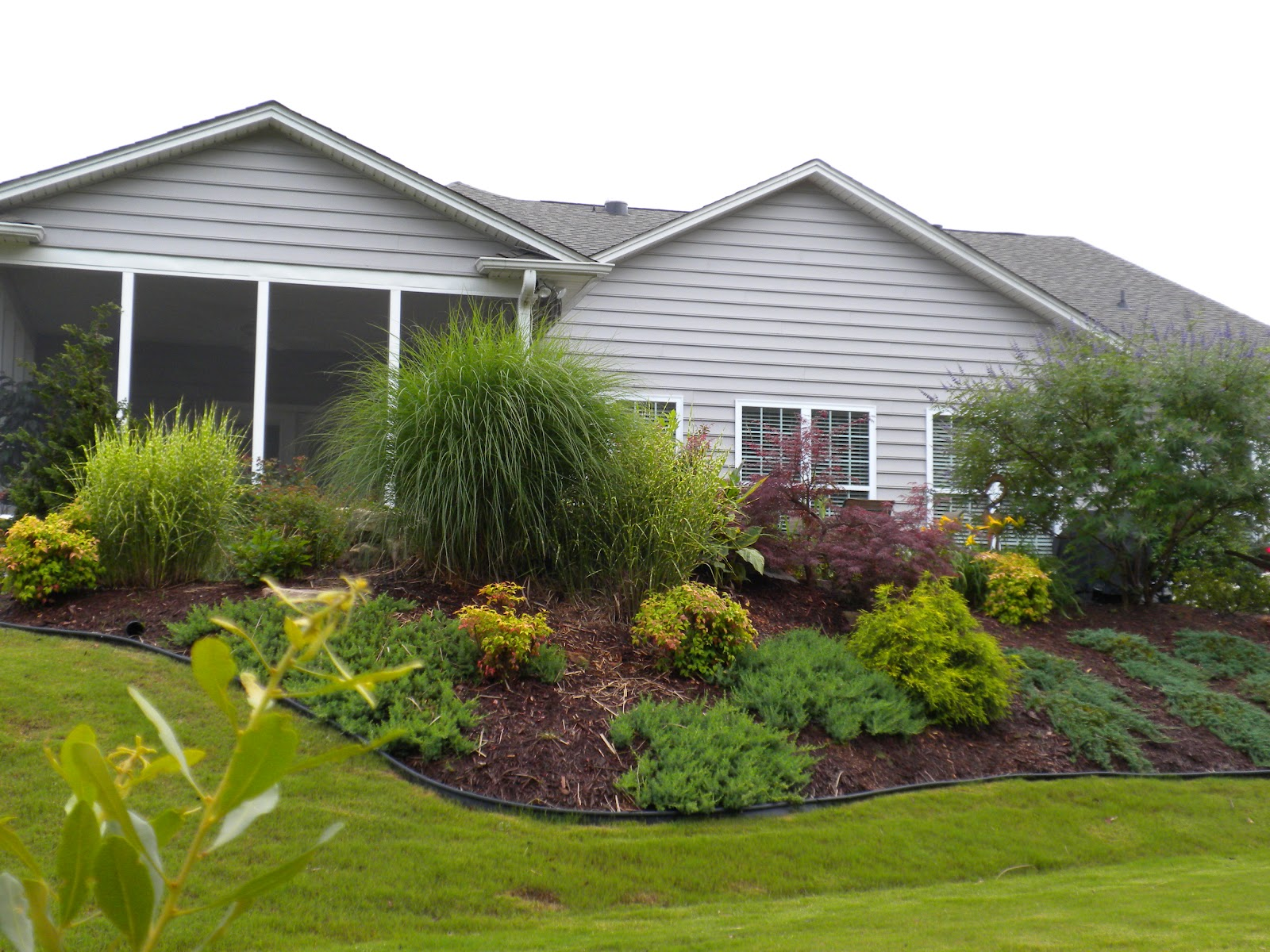 Isn't this a beautifully landscaped sloping back yard. They have  title=