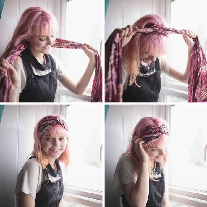how to tie a hair scarf