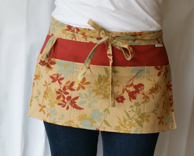 half apron with pockets, floral design