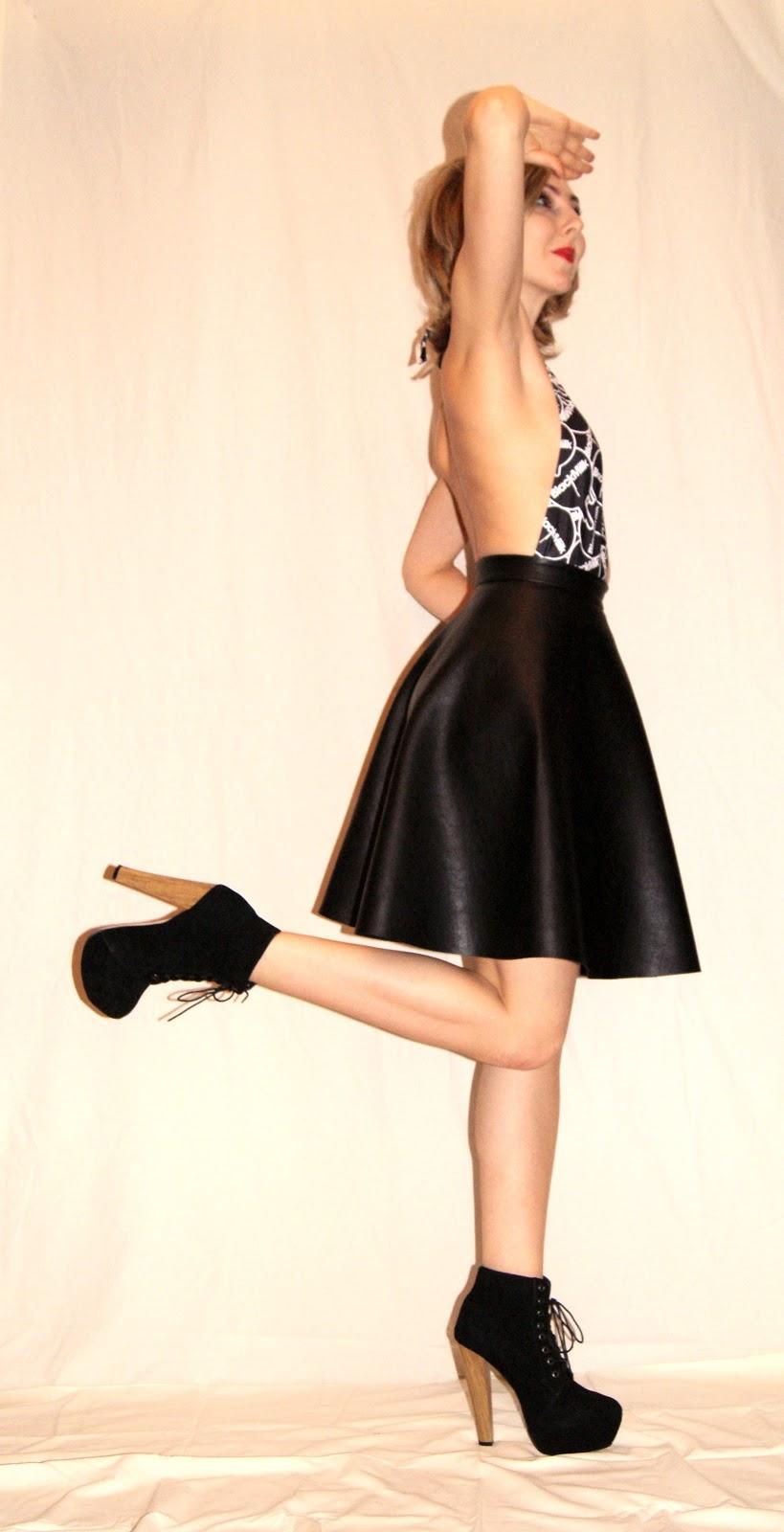 Semi circle skirt, PVC, vegan, Tocha's World, Black Milk