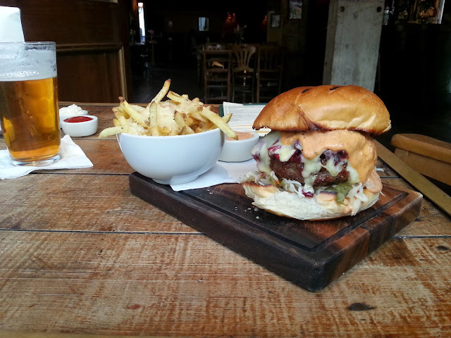 The £15 triple steak burger with parmesan fries