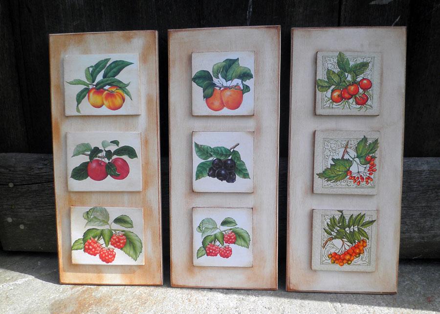 Retazos de madera cuadros de cocina setas y frutas - Cuadros para la cocina ...