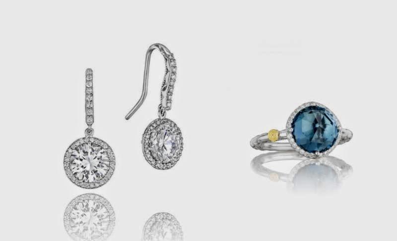 Diamond Earring and Blue Topaz Ring